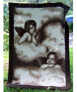 Rare Biederlack cherubs fleece blanket 76X60 made in Germany - $95.00