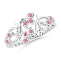 0.12ct Nature Inspired Pave-Set Pink Sapphire Leaf and Vine Ring in Gold - $584.10
