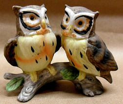 LEFTON VTG MINIATURE 2 OWLS ON BRANCH FIGURINE -  #753 & RED FOIL LABEL ... - $5.93