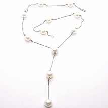 Necklace White Gold 750 18k, Pearls 10 mm, with Hanging Charm, Chain Venetian image 1