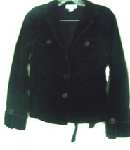 Ann Taylor LOFT Petites Black Corduroy Military Style Jacket w/Belt Size 6P - $28.49