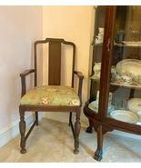 ANTIQUE SOLID WOOD ARMCHAIR WITH NEW SEAT CUSHION - $48.00