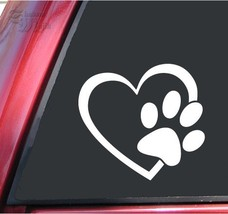 "ShadowMajik Heart and Paw Print Vinyl Decal Sticker 4"" X 3.7"", White - $2.25"