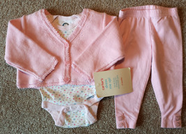 Girl's Size 6 M 3-6 Months 3 Pc Pink Carter's NWT Cardigan & Pants + Ger... - $22.00