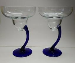 LIBBEY Cobalt Blue 2 BRAVURA Margarita Champagne Curved Stem Glasses 7 1... - $18.99