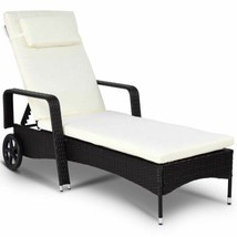Durable Outdoor Recliner Cushioned Chaise Lounge w/Adjustable Wheels - $223.99