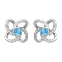 Love Infinity Knot Stud Earring Blue Topaz With CZ 925 Sterling Silver J... - $29.53