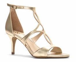 Vince Camuto Payto Egyptian Gold Metallic Nappa Strappy Heels Sandals 7.5 M NEW - $44.55