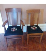 Pair Of 2 Antique Needlepoint Floral Wooden Chairs - $296.99