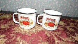 Vintage Campbell's Soup Set Cups Mugs Classic Look Enamelware Houston Harvest - $19.79