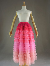 Navy Blue Tiered Tulle Skirt Layered Tulle Midi Skirt Outfit US0-US28 image 9