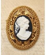 Vintage Cameo Open Work Filigree Brooch Pin - $24.73