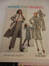 Vintage Emanuel Ungaro Vogue Size 10 1538 coat dress pants uncut sewing ... - $26.72