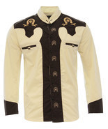 Men's Charro Shirt Camisa Charra El General Western Wear Color Beige/Brown - €31,71 EUR