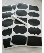 2 Sheet Set Chalkboard Labels Pantry and Storage Stickers with Pen Brand... - $3.99