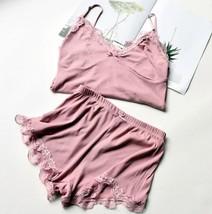 2pcs/set Pink Pajamas Summer Sleepwear V Neck Lace Camisoles Tanks Top +... - $32.70
