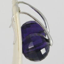 925 STERLING SILVER PENDANT EARRINGS WITH BIG FACETED PURPLE CRYSTAL BALL SPHERE image 2