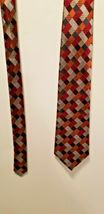 Sexy Geoffrey Beene 100% Silk Red Blue Silver Patchwork Diamonds Tie Necktie image 3