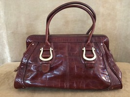Liz Claiborne Handbag brown leather purse bag shoulder tote satchel - $51.60