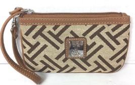 Tignanello Small Tan with Brown Signature Fabric Wristlet Pouch - $21.33