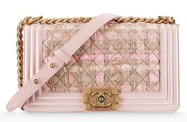 AUTH CHANEL PINK TWEED WOOD BOY LIMITED EDITION MEDIUM LEATHER BAG GHW image 1