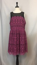 Women Plus Sz 3X Pink Lace Over Black Sheath Sleeveless Dress Business C... - $353,44 MXN