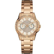 Guess Womens Sassy Rose Gold Stainless Steel Beige Dial W0705L3 Ladies Watch - £77.78 GBP