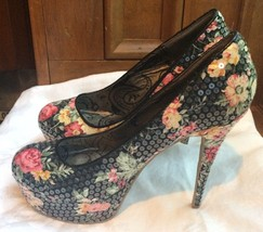 "Dollhouse Women's 5"" High Heels Platform Shoes Floral Print Sequin Pumps... - $23.38"