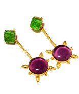 Cabochon Amethyst,Green Druzy Gemstone Gold Plated Handmade Drop Dangle ... - $19.78 CAD