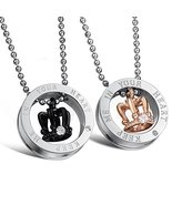 king/queen keep me in your heart engraved crown couple pendant necklace ... - $25.65