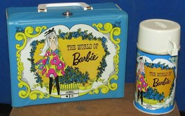 """1971 Thermos Vinyl Lunchbox """"The World Of Barbie"""" W/Metal Thermos #2825 - $74.24"""