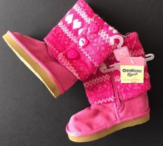 NWT Osh Kosh Baby Boots Girls 5 Hot Pink Faux Suede Sweater Boots Hearts... - £12.14 GBP