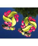 VTG 50s LISNER Custom Painted Bright Pink/Green Leaves/Foliage Screw Bk ... - $18.89