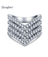 Beagloer Exquisite Engagement Big Rings Silver Color Paved Ring Party Je... - $10.14