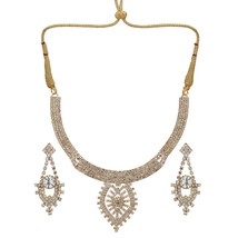 Indian Traditional Bollywood Bridal Silver CZ Party Fashion Jewelry Necklace Set - $19.60