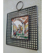 Metal Framed Painted Tile Art wall Hanging Decor 10 x 10 - $47.50