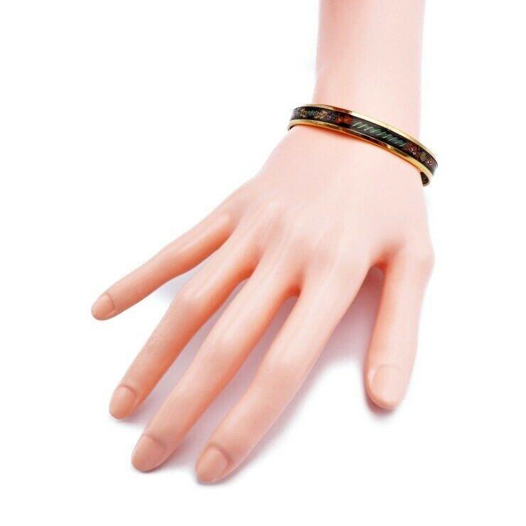 Hermes enamel PM bangle gold black multi-color Auth