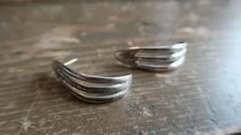 "Vintage Alvin Thompson Navajo Sterling Silver Hammered Earrings 1 3/8"" - $34.65"