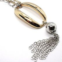 925 Silver Necklace, Double Chain Rolo, white and yellow, oval Fringes, Pendants image 3