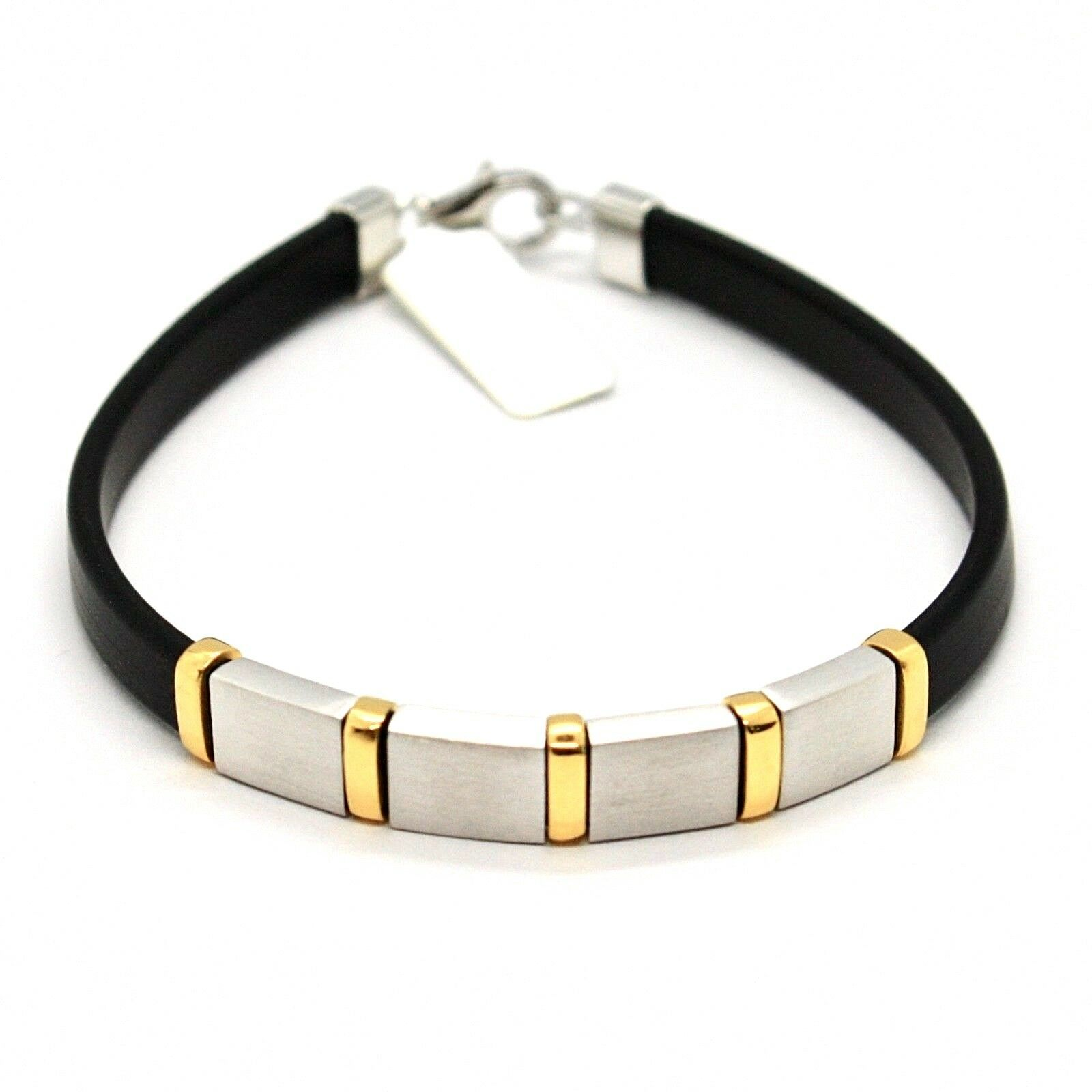 SILVER 925 BRACELET RHODIUM AND LAMINATE YELLOW GOLD WITH RUBBER 20 CM