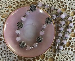 """Pink Jade 20.75"""" Necklace with Satin Pink Swarovski Crystals and Pewter ... - $25.00"""