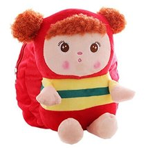 Lovely Mousse Stripe Toddler Backpack Infant Villus Knapsack Cute Baby Bag 1-3Y