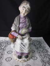 """Old Woman Bisque Figurine w/ Basket of Apples - 12"""" - Made in Taiwan R. ... - $6.00"""