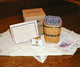 Longaberger 1997 JW Miniature Waste Basket Combo Complete New On Box Authentic - $89.05