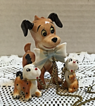 Vintage Porcelain KITSCH Dog Family Three Dogs Attached By Chains Mid Century - $20.00