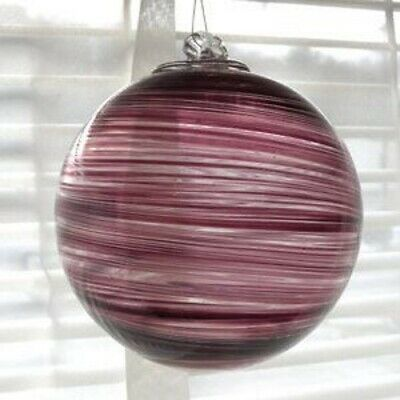 "Primary image for Hanging Glass Ball 4"" Diameter Purple Swirls Friendship Ball (1) HB47"