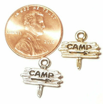 THIS WAY TO THE CAMP SITE FINE PEWTER PENDANT CHARM 14mm L x 14mm W x 3mm D image 2