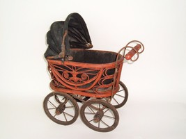 """Vtg Wicker Rattan Baby Doll Pram Carriage Buggy Antique Reproduction 16 """" - $59.00"""