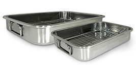 4 Piece Lasagna Roasting Pan Set. Stainless Steel Roaster Rack Oven Turk... - $30.40