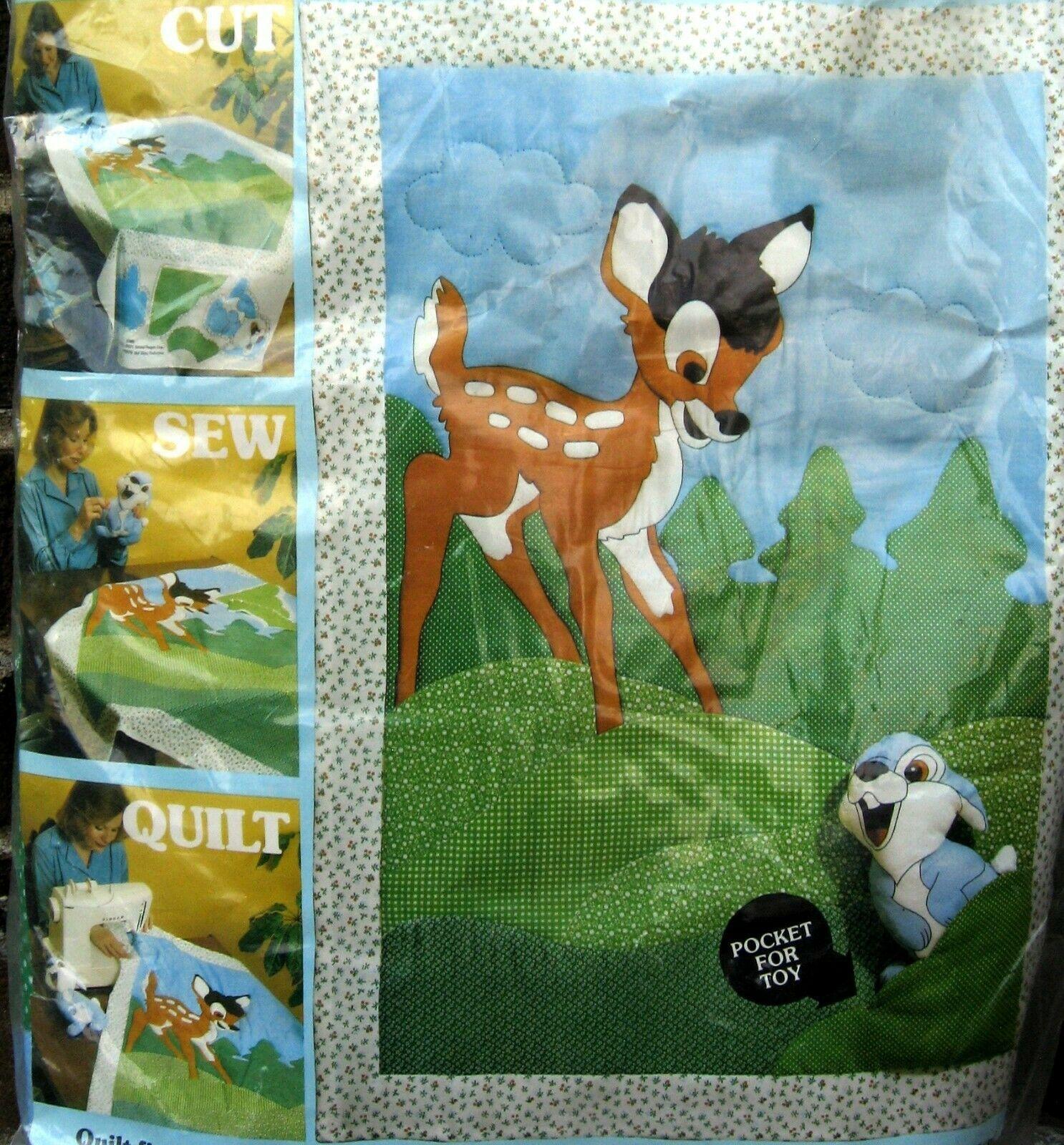 "Vtg Paragon Quick Quilt Kit Disney Bambi Thumper Baby Toy Plush New 32"" x 45"" - $71.99"